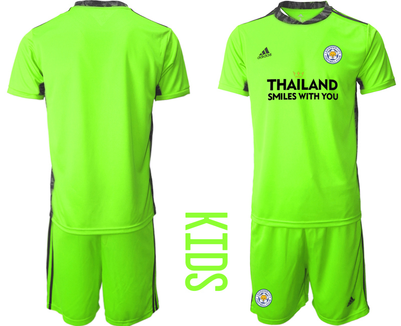 Wholesale Youth 2020-2021 club Leicester City green goalkeeper blank Soccer Jerseys
