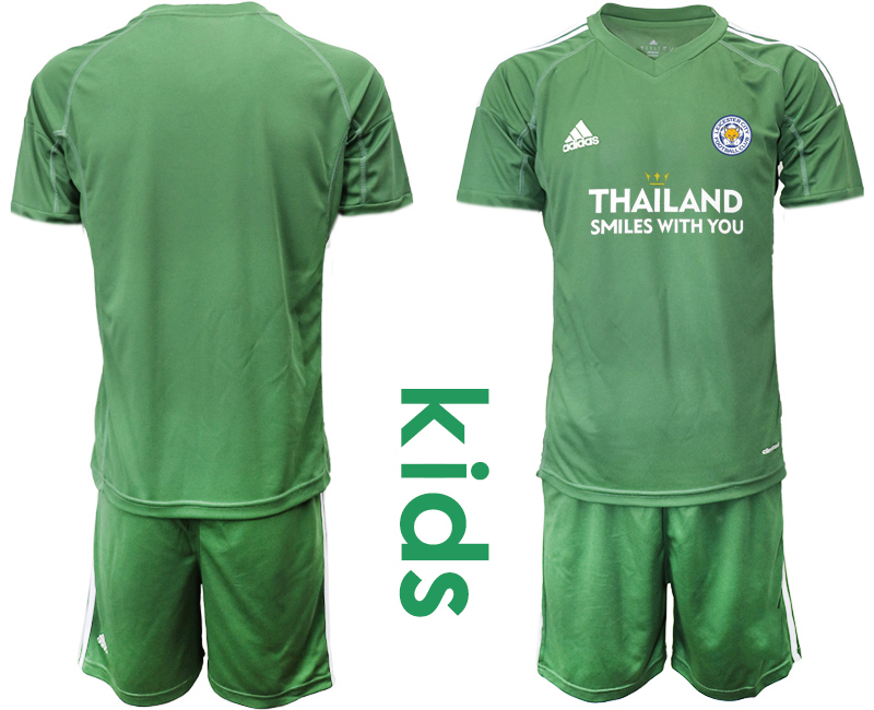 Wholesale Youth 2020-2021 club Leicester City green goalkeeper blank Soccer Jerseys1