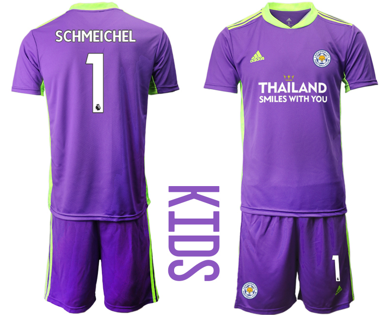 Wholesale Youth 2020-2021 club Leicester City purple goalkeeper 1 Soccer Jerseys