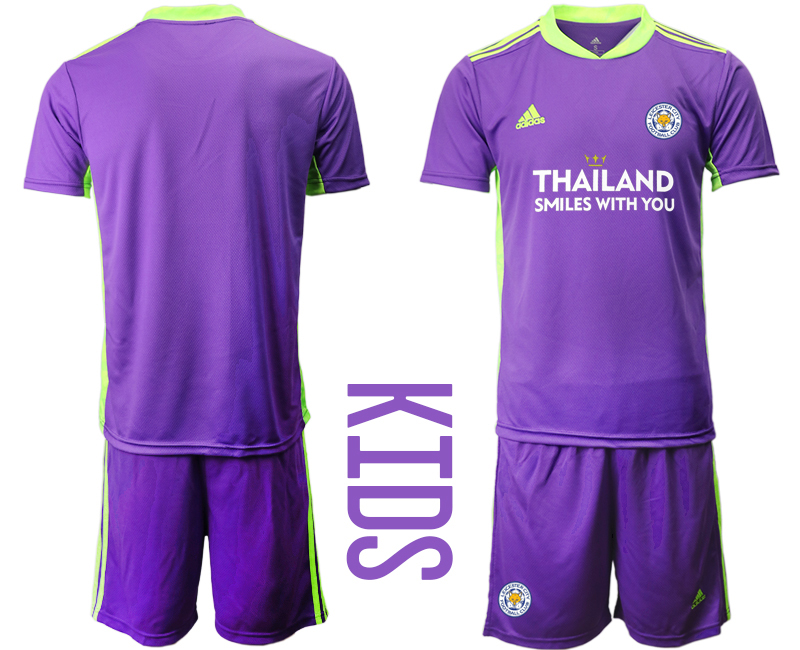 Wholesale Youth 2020-2021 club Leicester City purple goalkeeper blank Soccer Jerseys