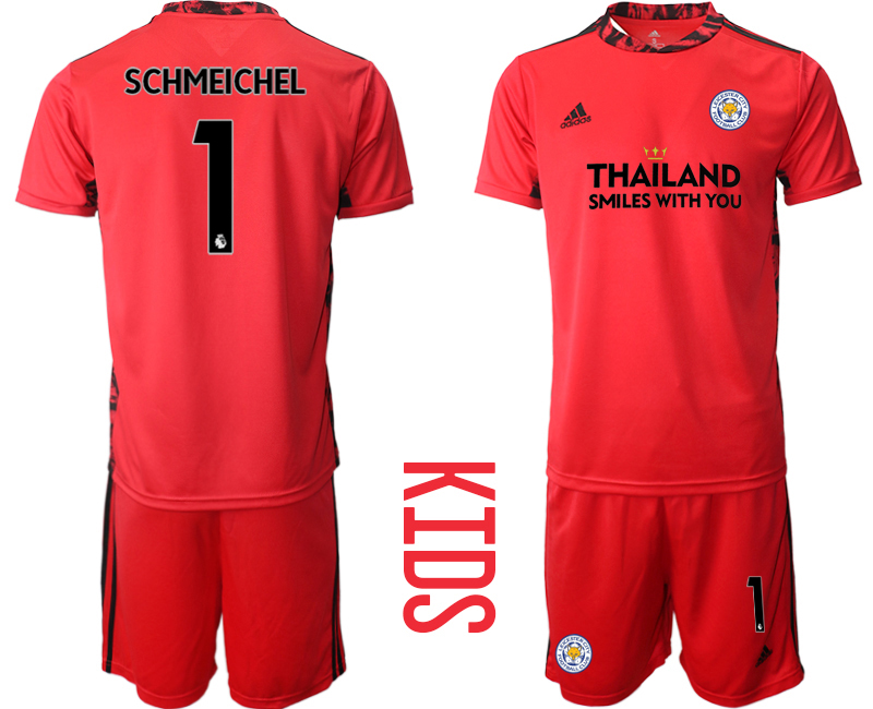 Wholesale Youth 2020-2021 club Leicester City red goalkeeper 1 Soccer Jerseys