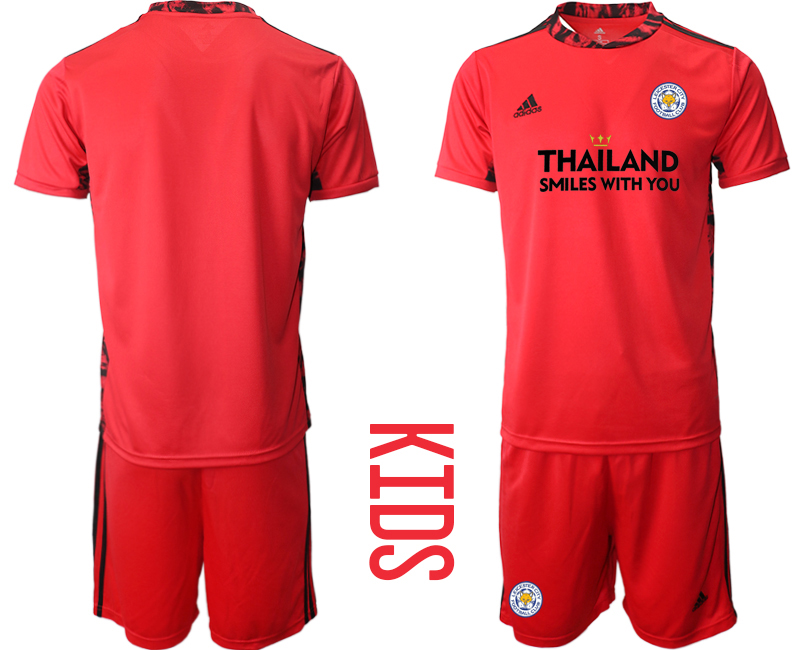 Wholesale Youth 2020-2021 club Leicester City red goalkeeper blank Soccer Jerseys