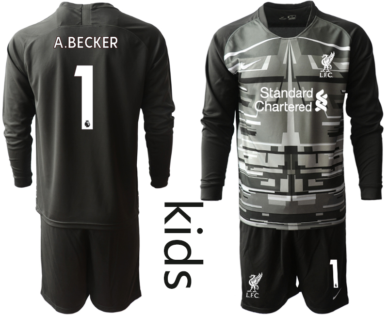 Cheap Youth 2020-2021 club Liverpool black long sleeved Goalkeeper 1 Soccer Jerseys