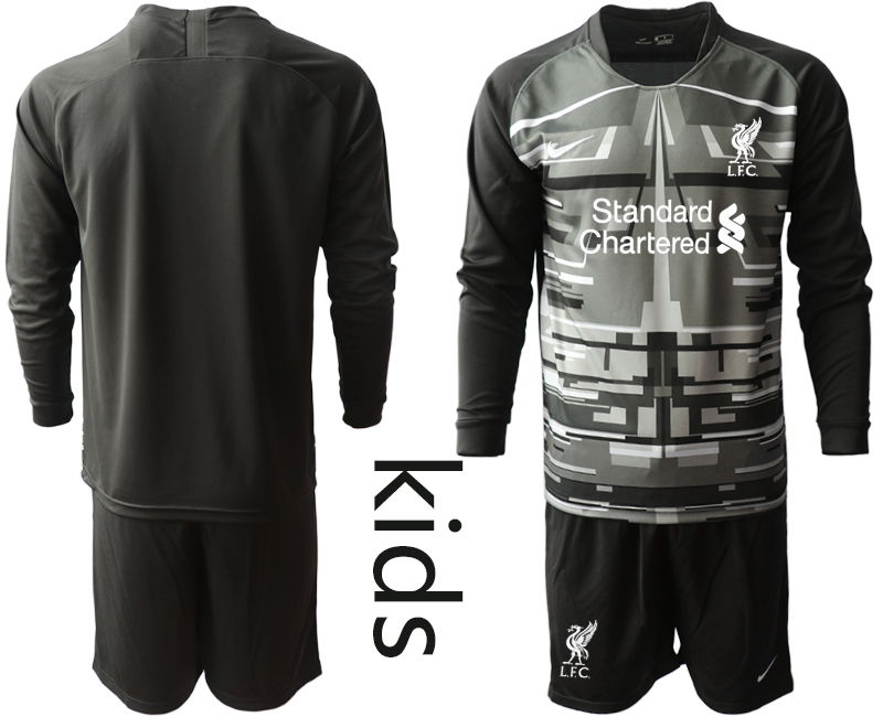 Cheap Youth 2020-2021 club Liverpool black long sleeved Goalkeeper blank Soccer Jerseys