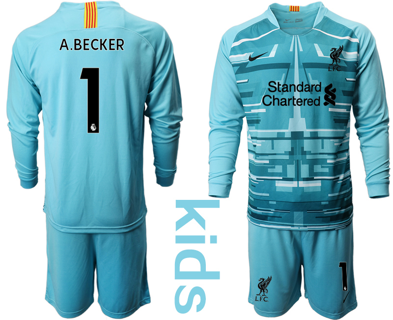 Cheap Youth 2020-2021 club Liverpool blue long sleeved Goalkeeper 1 Soccer Jerseys
