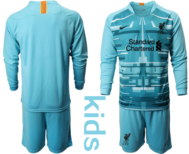Cheap Youth 2020-2021 club Liverpool blue long sleeved Goalkeeper blank Soccer Jerseys