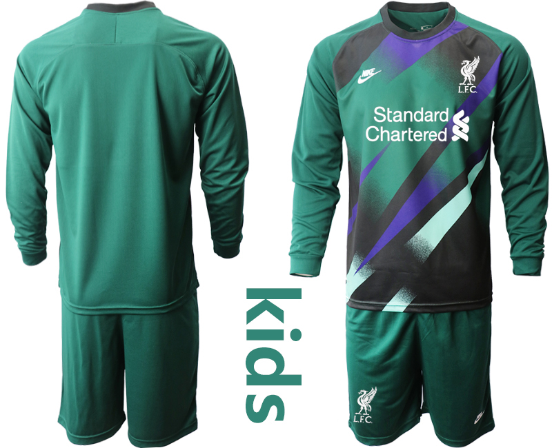Cheap Youth 2020-2021 club Liverpool green long sleeved Goalkeeper blank Soccer Jerseys