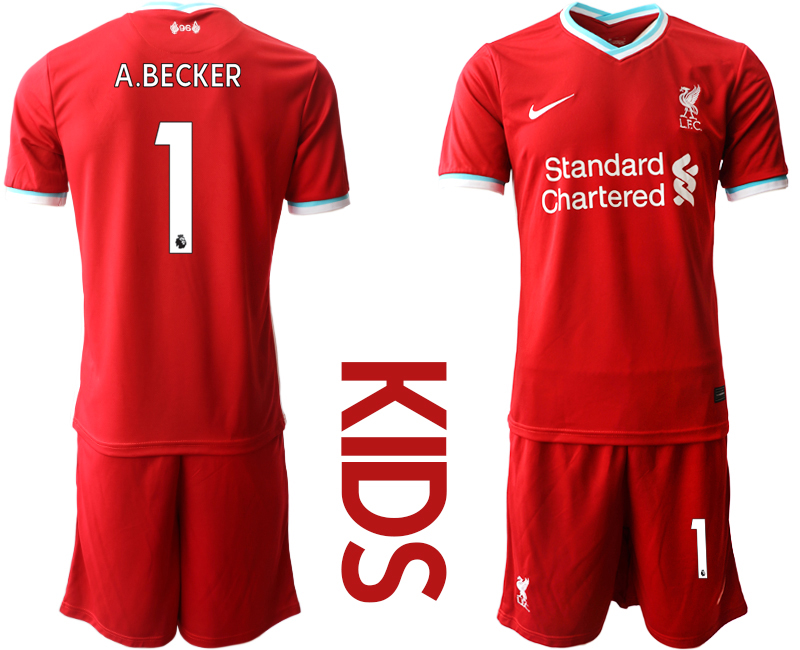 Cheap Youth 2020-2021 club Liverpool home 1 red Soccer Jerseys