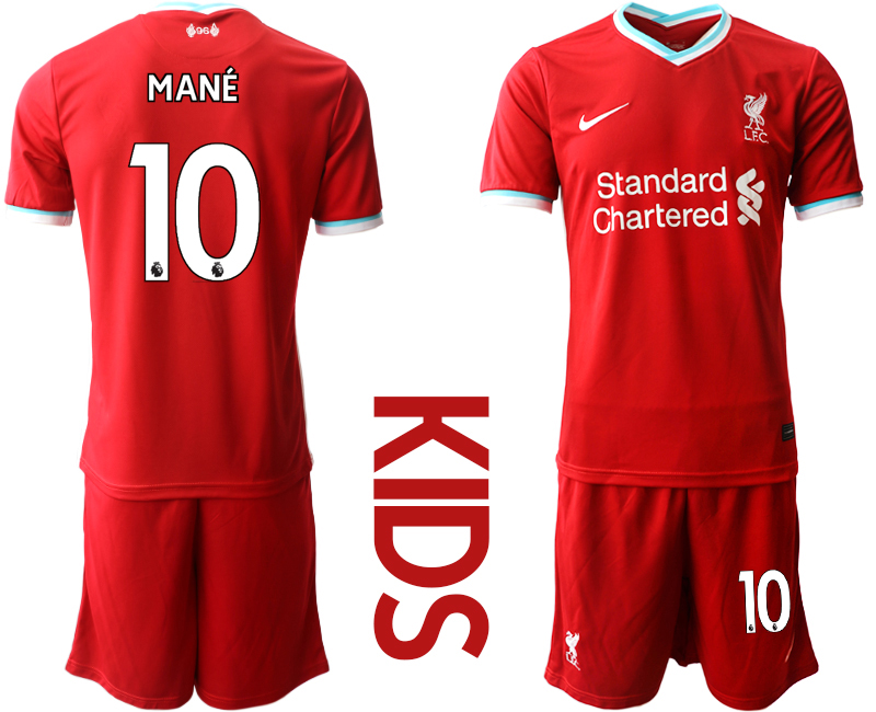 Cheap Youth 2020-2021 club Liverpool home 10 red Soccer Jerseys