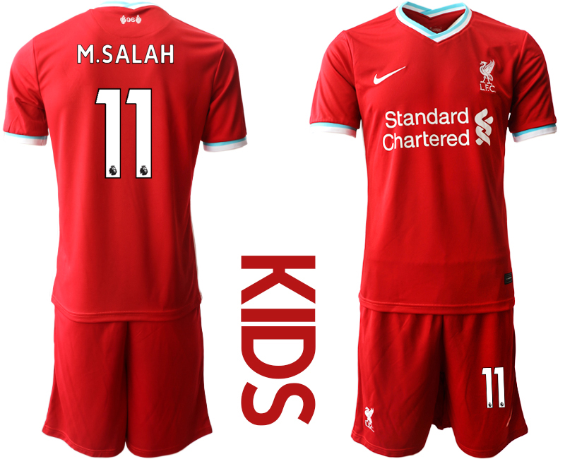 Cheap Youth 2020-2021 club Liverpool home 11 red Soccer Jerseys