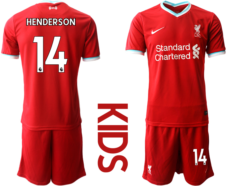Cheap Youth 2020-2021 club Liverpool home 14 red Soccer Jerseys