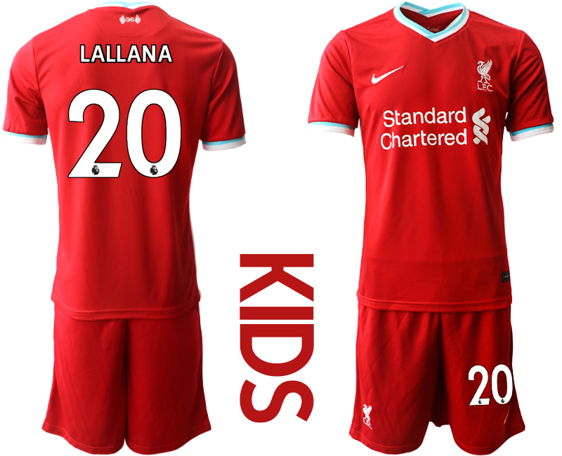 Cheap Youth 2020-2021 club Liverpool home 20 red Soccer Jerseys
