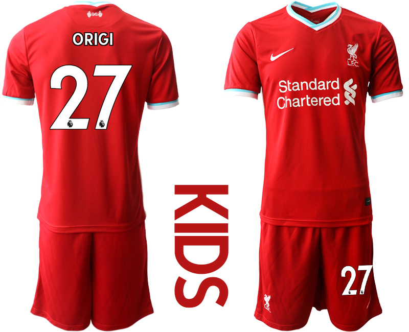 Cheap Youth 2020-2021 club Liverpool home 27 red Soccer Jerseys
