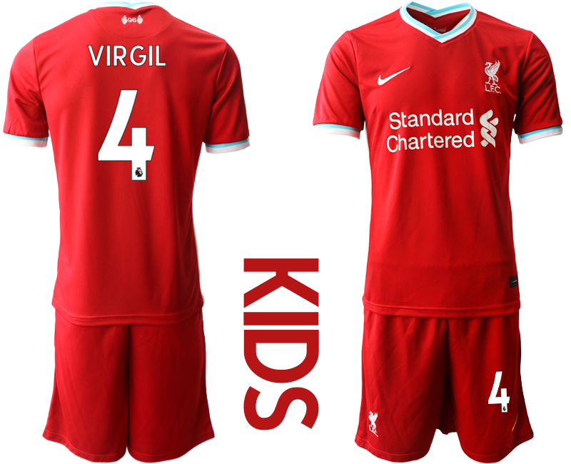 Cheap Youth 2020-2021 club Liverpool home 4 red Soccer Jerseys