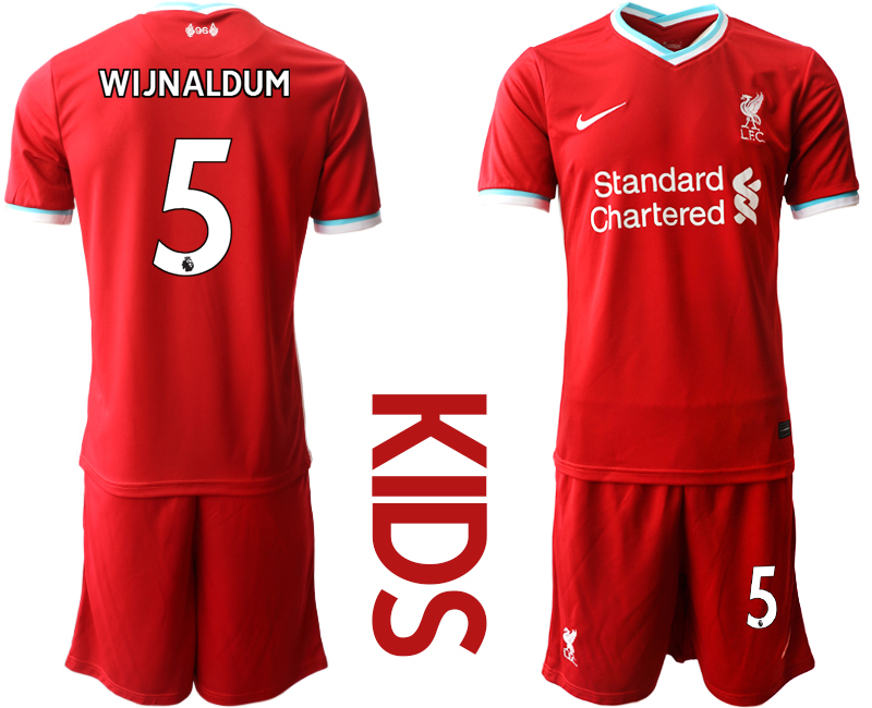 Cheap Youth 2020-2021 club Liverpool home 5 red Soccer Jerseys