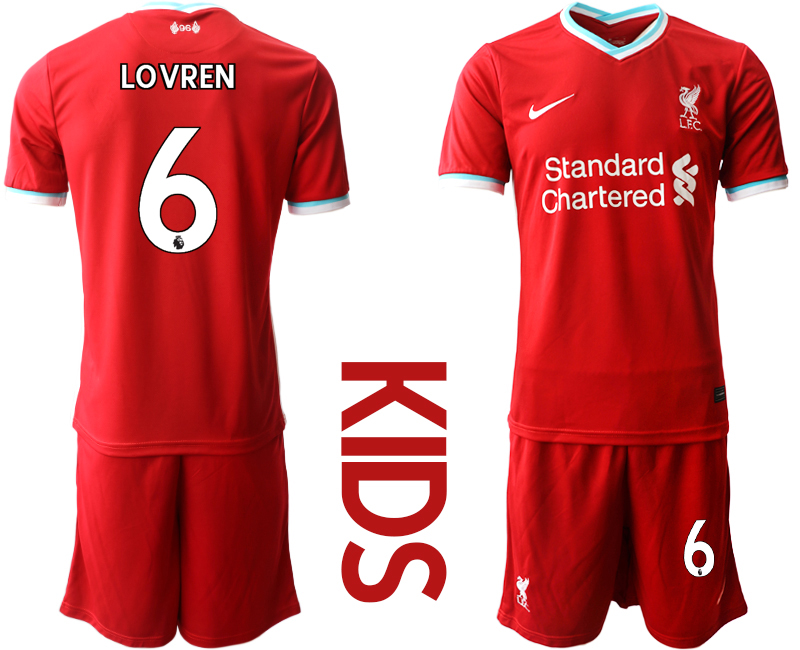 Cheap Youth 2020-2021 club Liverpool home 6 red Soccer Jerseys