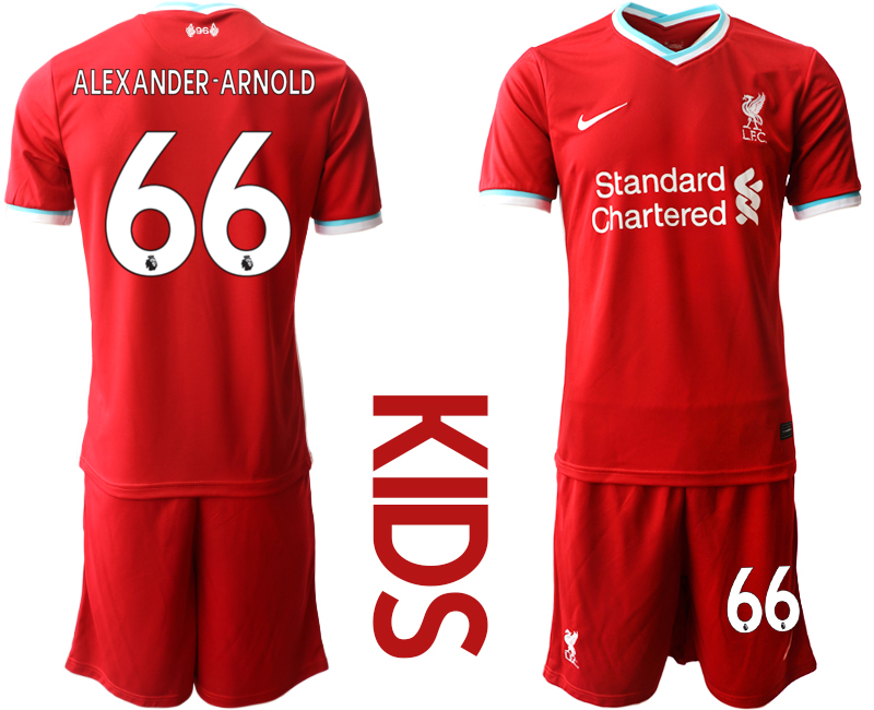Cheap Youth 2020-2021 club Liverpool home 66 red Soccer Jerseys