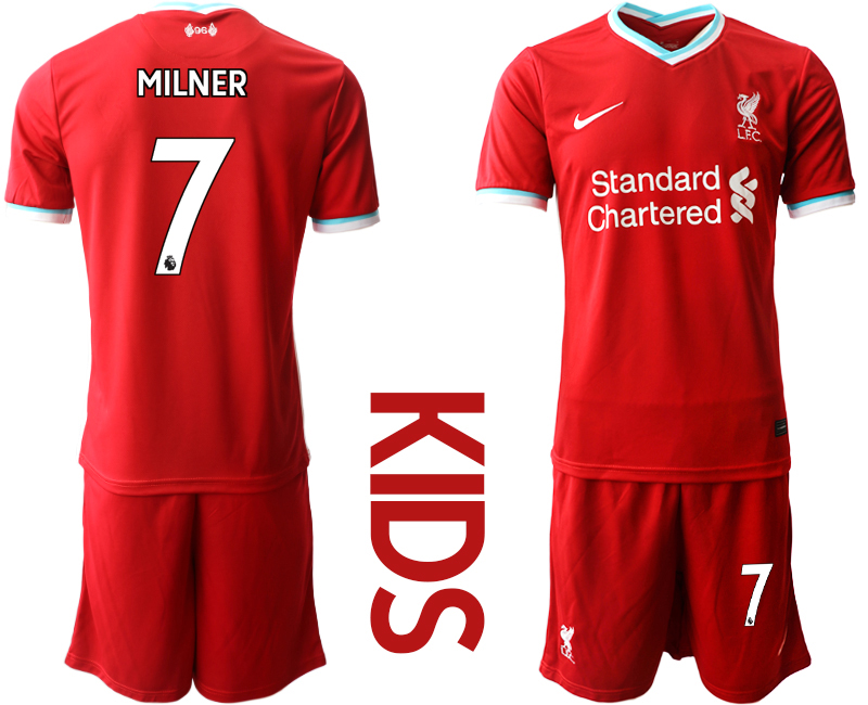 Cheap Youth 2020-2021 club Liverpool home 7 red Soccer Jerseys