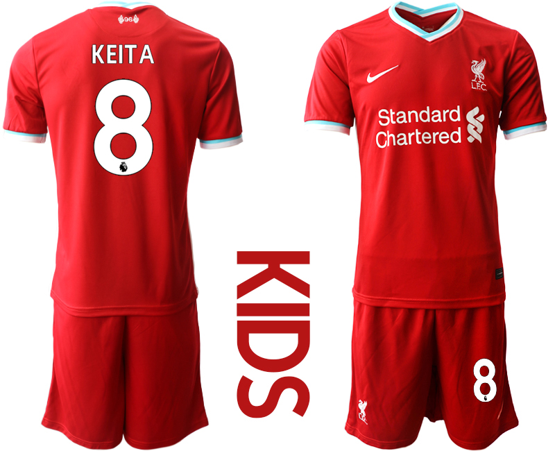 Cheap Youth 2020-2021 club Liverpool home 8 red Soccer Jerseys
