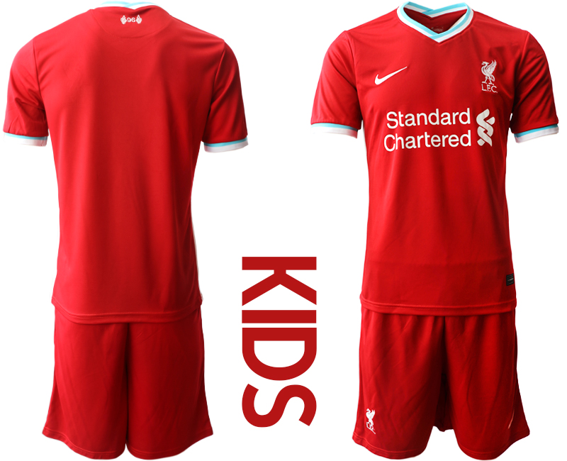 Cheap Youth 2020-2021 club Liverpool home blank red Soccer Jerseys