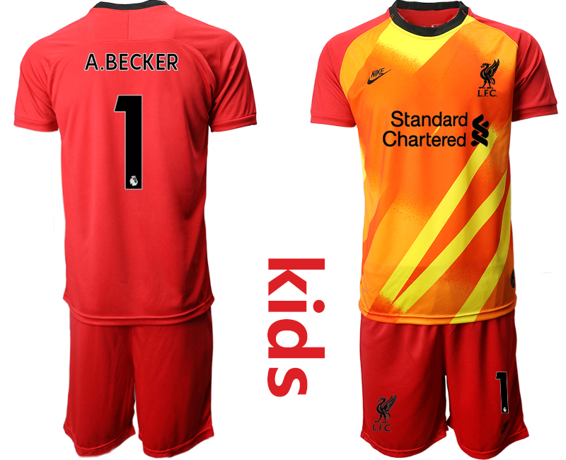Cheap Youth 2020-2021 club Liverpool red goalkeeper 1 Soccer Jerseys