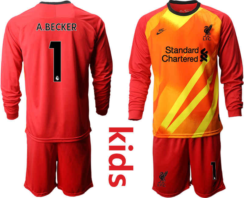 Cheap Youth 2020-2021 club Liverpool red long sleeved Goalkeeper 1 Soccer Jerseys
