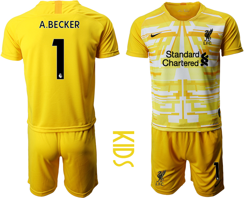 Cheap Youth 2020-2021 club Liverpool yellow goalkeeper 1 Soccer Jerseys