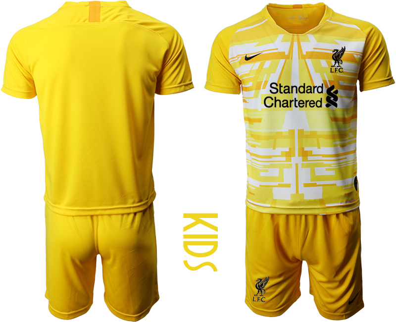 Cheap Youth 2020-2021 club Liverpool yellow goalkeeper blank Soccer Jerseys
