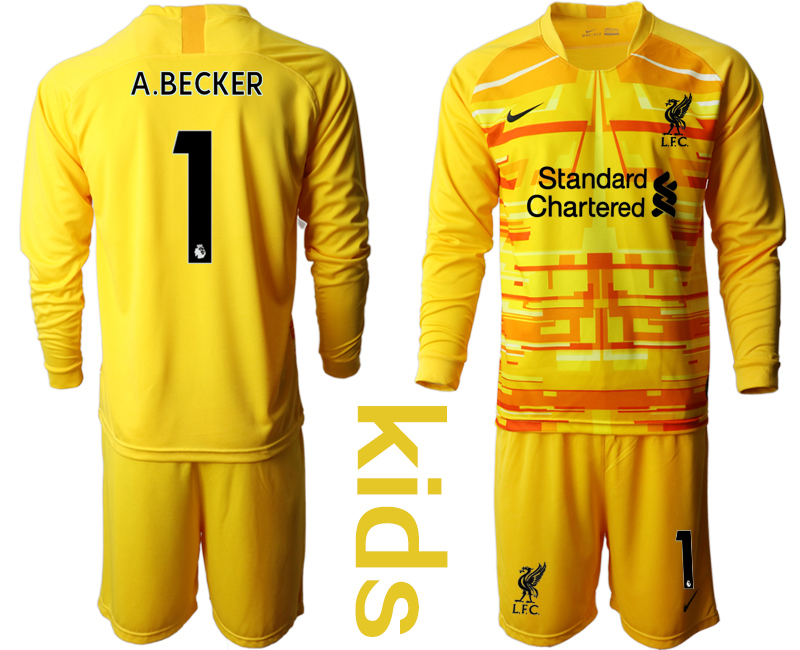 Cheap Youth 2020-2021 club Liverpool yellow long sleeved Goalkeeper 1 Soccer Jerseys
