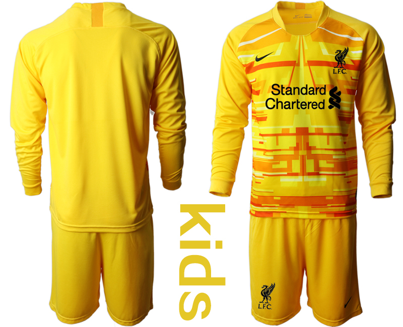 Cheap Youth 2020-2021 club Liverpool yellow long sleeved Goalkeeper blank Soccer Jerseys