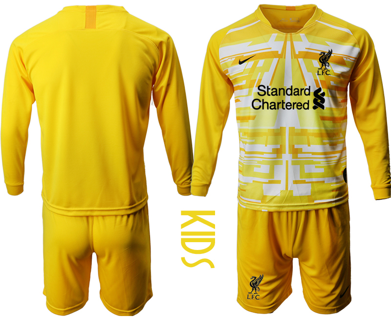 Cheap Youth 2020-2021 club Liverpool yellow long sleeved Goalkeeper blank Soccer Jerseys1