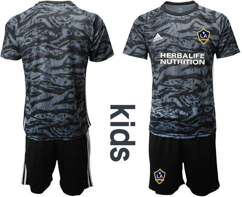 Cheap Youth 2020-2021 club Los Angeles Galaxy black goalkeeper blank Soccer Jerseys
