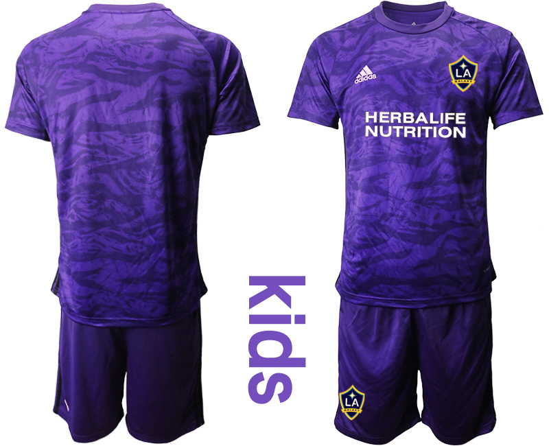 Cheap Youth 2020-2021 club Los Angeles Galaxy purple goalkeeper blank Soccer Jerseys