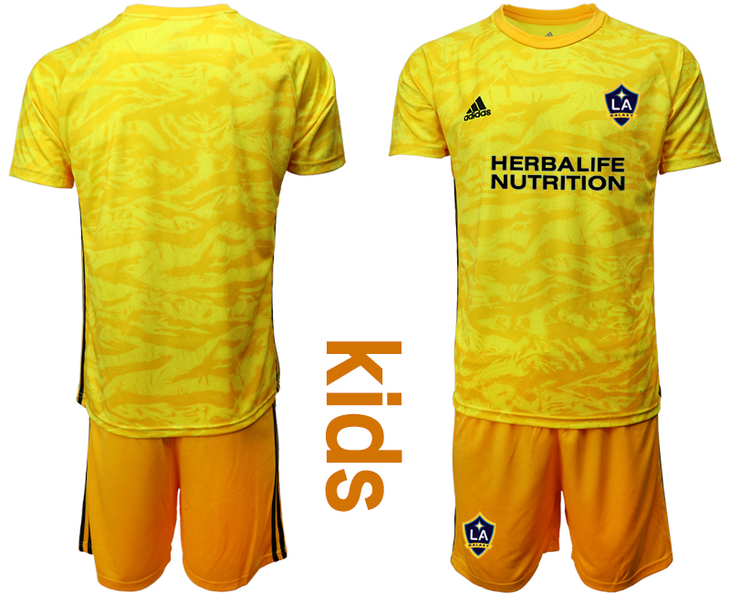 Cheap Youth 2020-2021 club Los Angeles Galaxy yellow goalkeeper blank Soccer Jerseys
