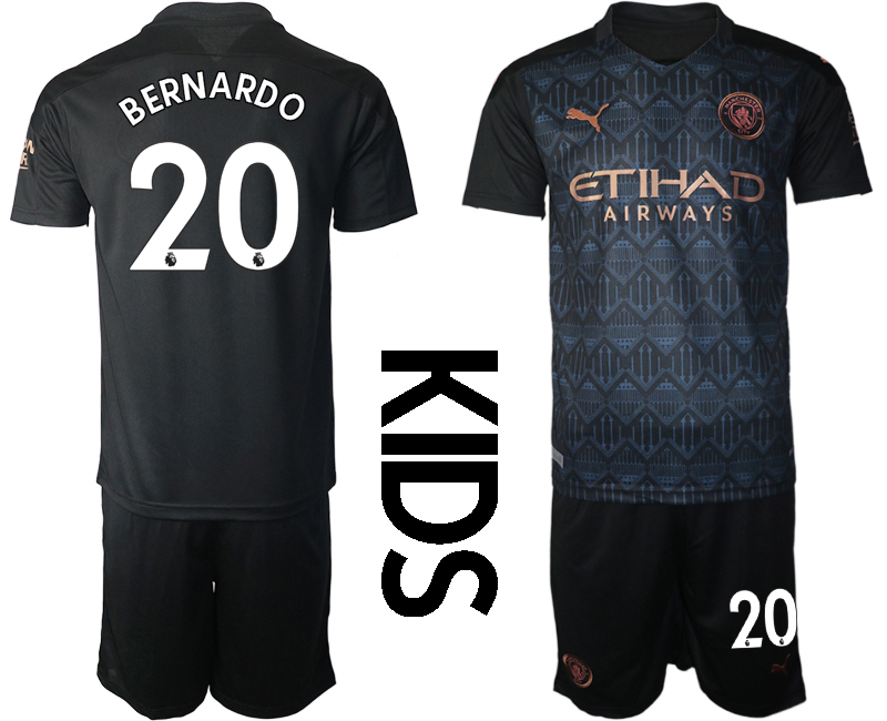 Cheap Youth 2020-2021 club Manchester City away black 20 Soccer Jerseys