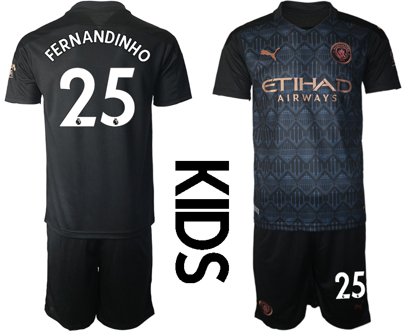 Cheap Youth 2020-2021 club Manchester City away black 25 Soccer Jerseys