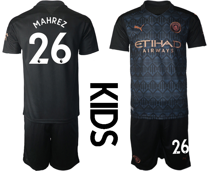 Cheap Youth 2020-2021 club Manchester City away black 26 Soccer Jerseys