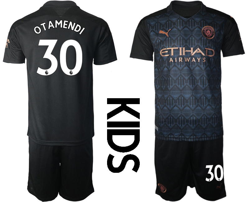 Cheap Youth 2020-2021 club Manchester City away black 30 Soccer Jerseys