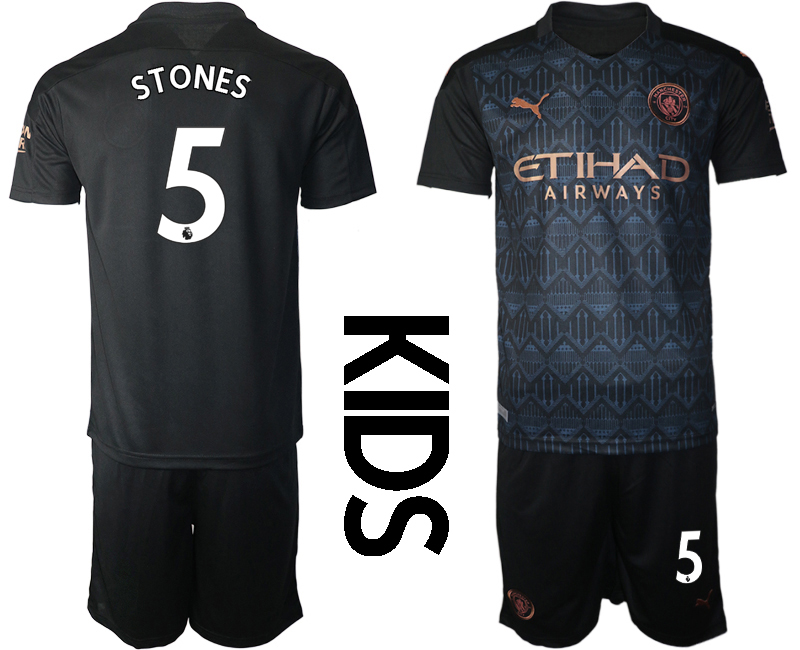 Cheap Youth 2020-2021 club Manchester City away black 5 Soccer Jerseys