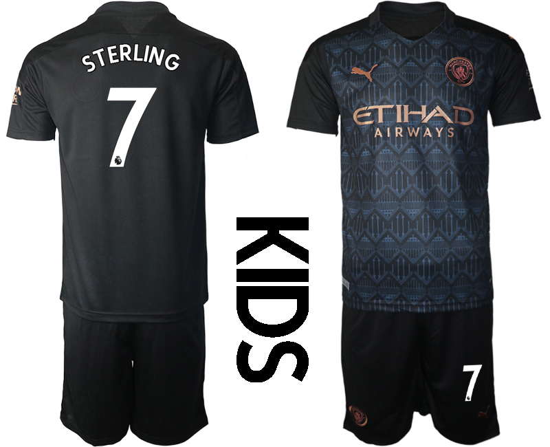 Wholesale Youth 2020-2021 club Manchester City away black 7 Soccer Jerseys