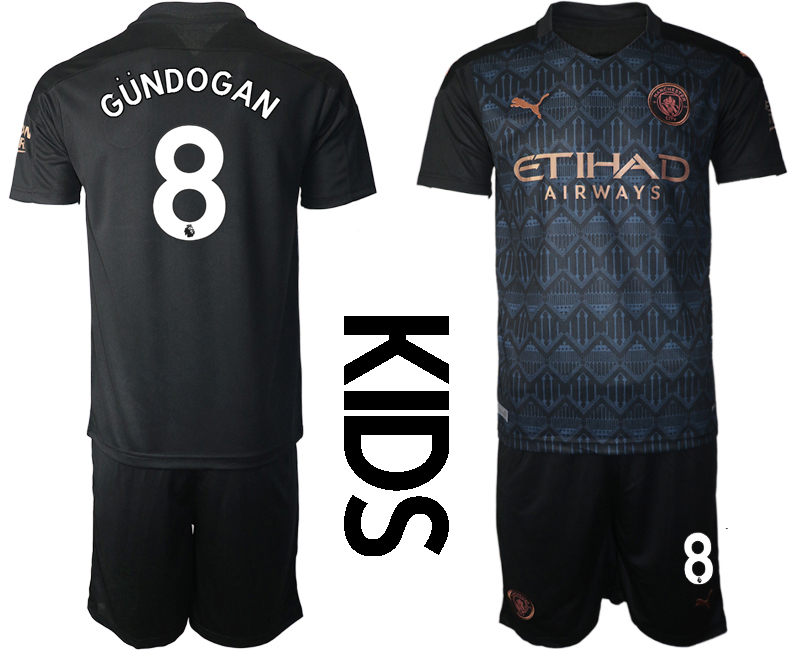 Wholesale Youth 2020-2021 club Manchester City away black 8 Soccer Jerseys