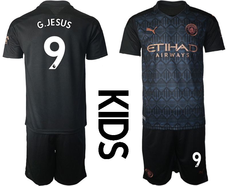 Cheap Youth 2020-2021 club Manchester City away black 9 Soccer Jerseys