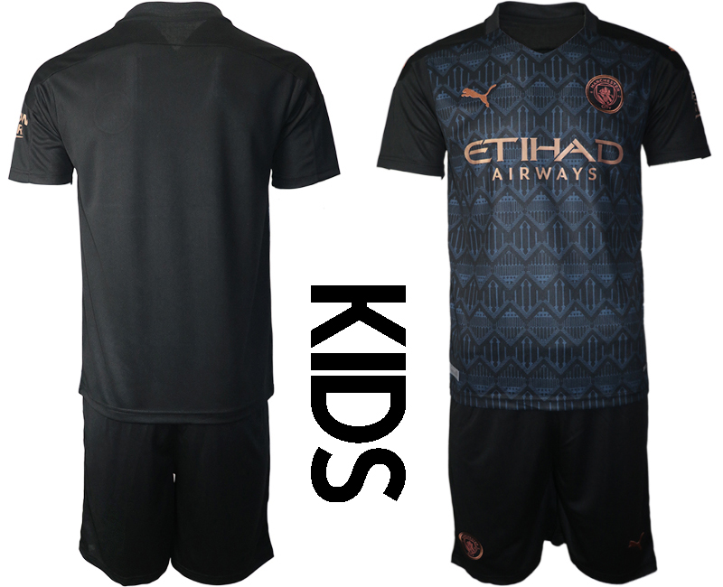 Cheap Youth 2020-2021 club Manchester City away blank black Soccer Jerseys
