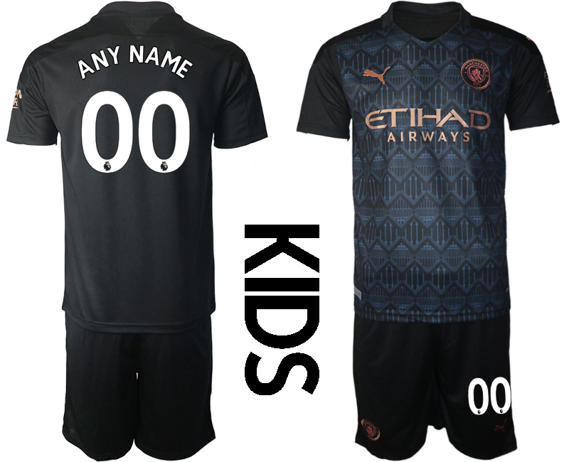 Cheap Youth 2020-2021 club Manchester City away customized black Soccer Jerseys