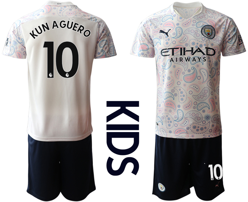 Cheap Youth 2020-2021 club Manchester City away white 10 Soccer Jerseys