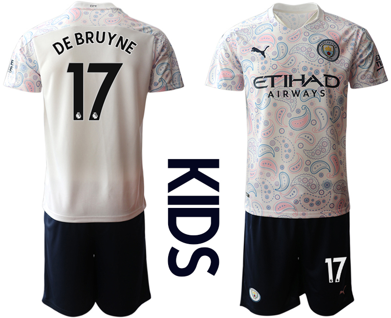 Wholesale Youth 2020-2021 club Manchester City away white 17 Soccer Jerseys