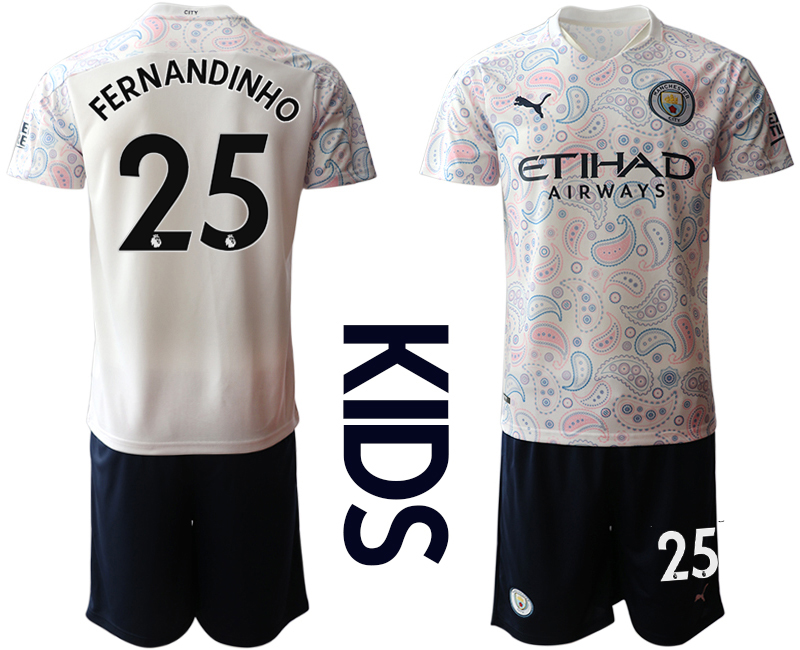 Wholesale Youth 2020-2021 club Manchester City away white 25 Soccer Jerseys