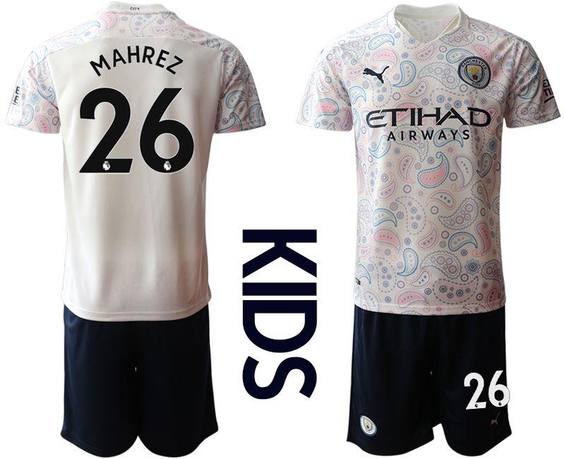 Wholesale Youth 2020-2021 club Manchester City away white 26 Soccer Jerseys