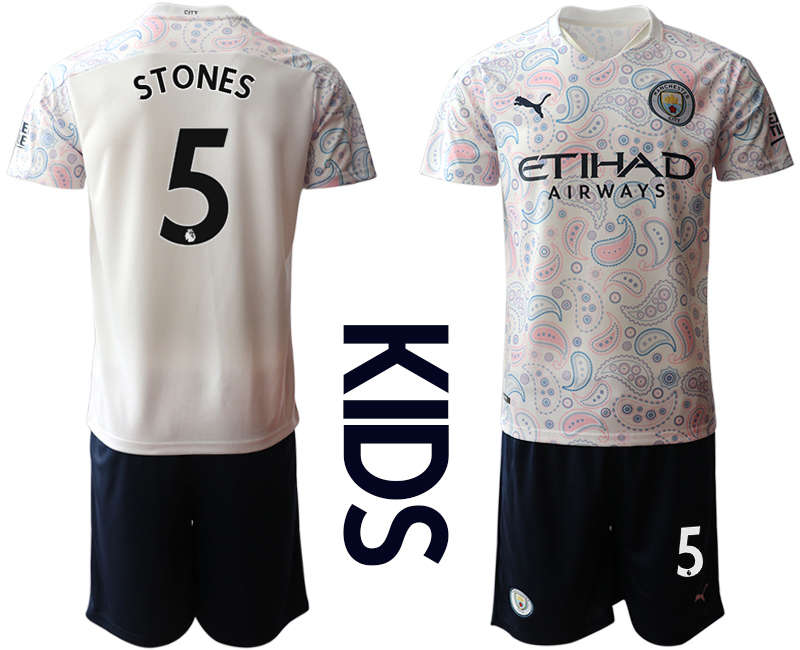 Cheap Youth 2020-2021 club Manchester City away white 5 Soccer Jerseys