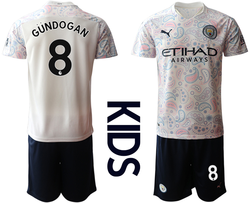 Cheap Youth 2020-2021 club Manchester City away white 8 Soccer Jerseys